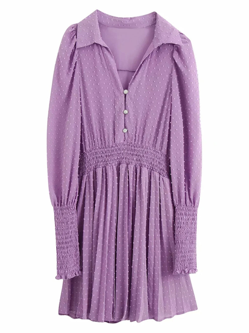 'Josephine' Purple Dotted Chiffon Pleated Mini Dress