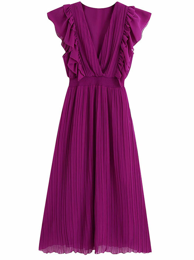 'Dorothy' V-Neck Frill Sleeves Pleated Midi Dress (3 Colors)