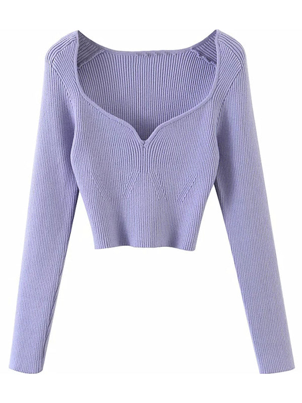 'Delilah' Wide Neck Long Sleeves Tight Knitted Top (4 Colors)