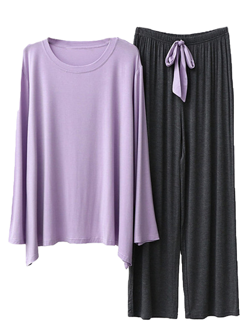'Quinn' Round Neck Long Sleeve Ribbon PJ Set (4 Colors)