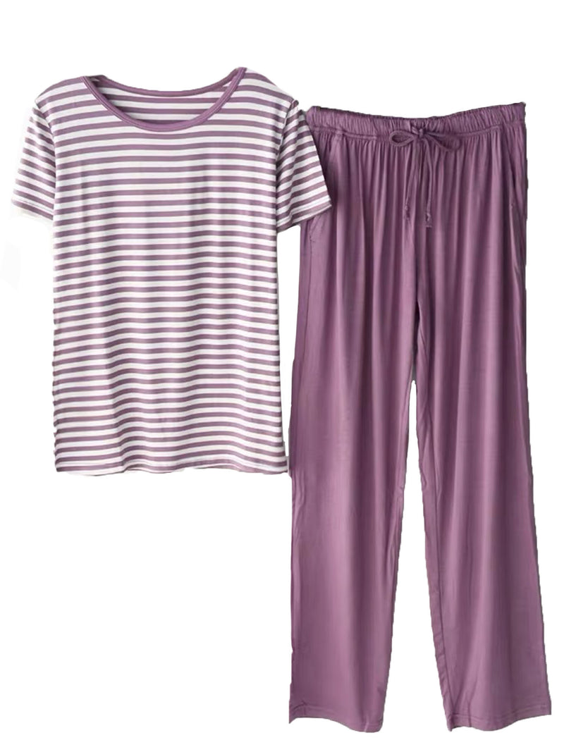 'Lola' Round Neck Striped PJ Set (3 Colors)