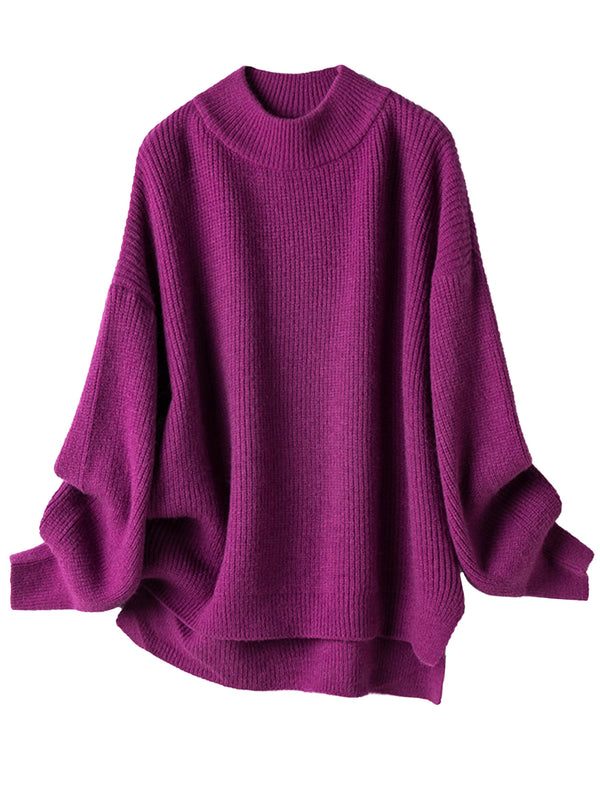 'Brielle' Bright Color Mock Neck Sweater (2 Colors)