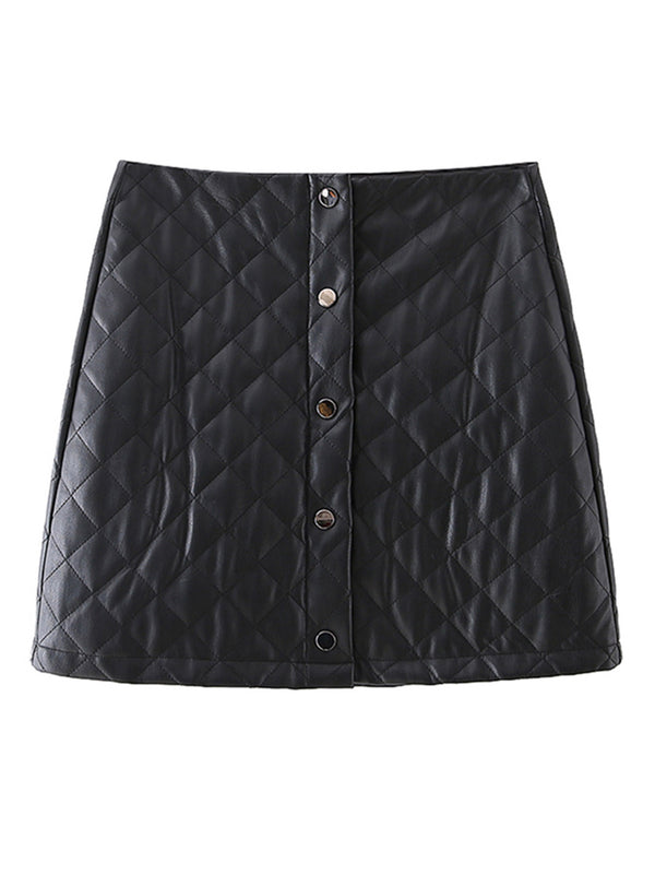 'Madison' Quilted Faux Leather Button Front Skirt