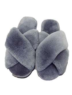'Catherine' Criss Cross Faux Fur Slippers (2 Colors)
