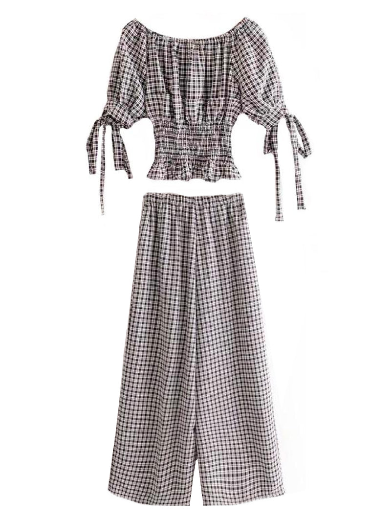 Goodnight Macaroon 'Rebecca' Gingham Off-the-Shoulder Top and Pants Set Back