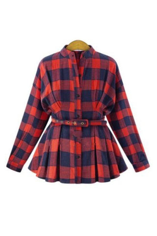 'Aviva' Red Buffalo Plaid Peplum Shirt - Goodnight Macaroon
