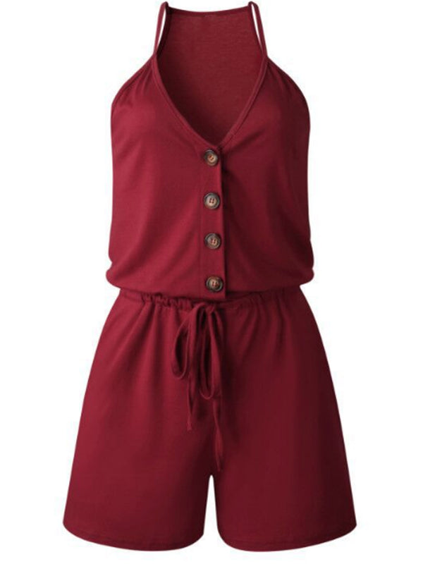 'Kensley' V-neck Button Romper (5 Colors)