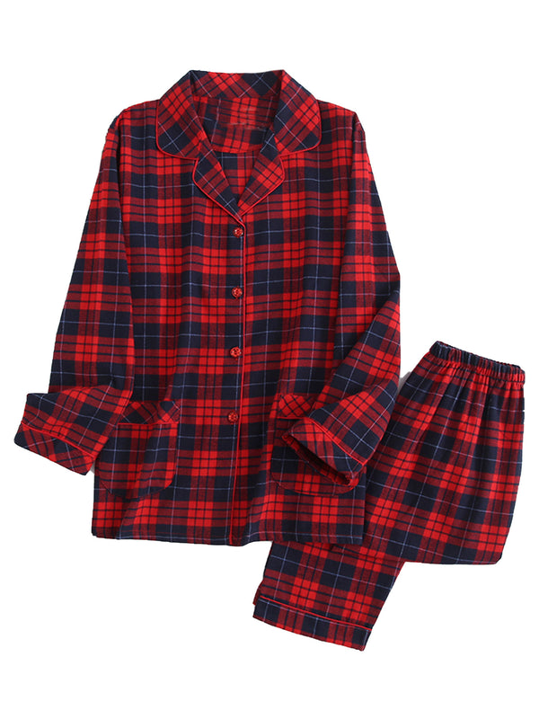 'Charlotte' Plaid Button Down PJ Set (4 Colors)