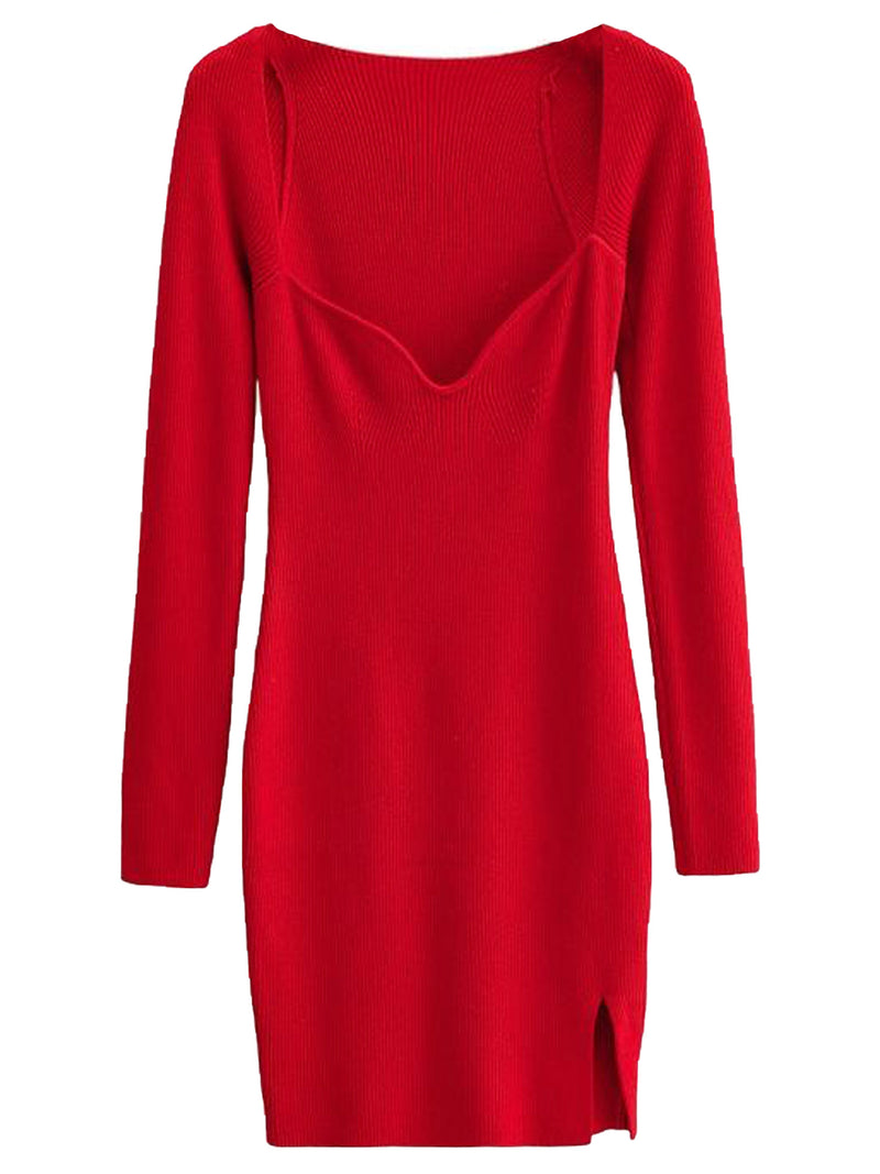 'Luca' Wide Neck Ribbed Knit Mini Dress with Slit (4 Colors)