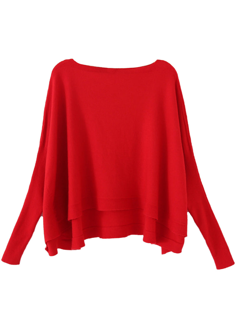'Ragna' Boat Neck Bat Sleeves Fine Knit Top (6 Colors)