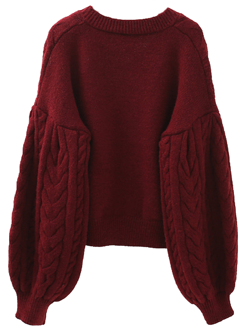 'Florence' V-neck Cable Knit Cropped Sweater (2 Colors)