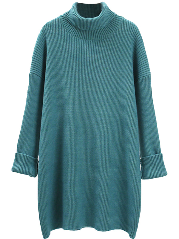 'Melanie' Turtleneck Cuffed Sleeves Ribbed Knit Sweater Dress (6 Colors)