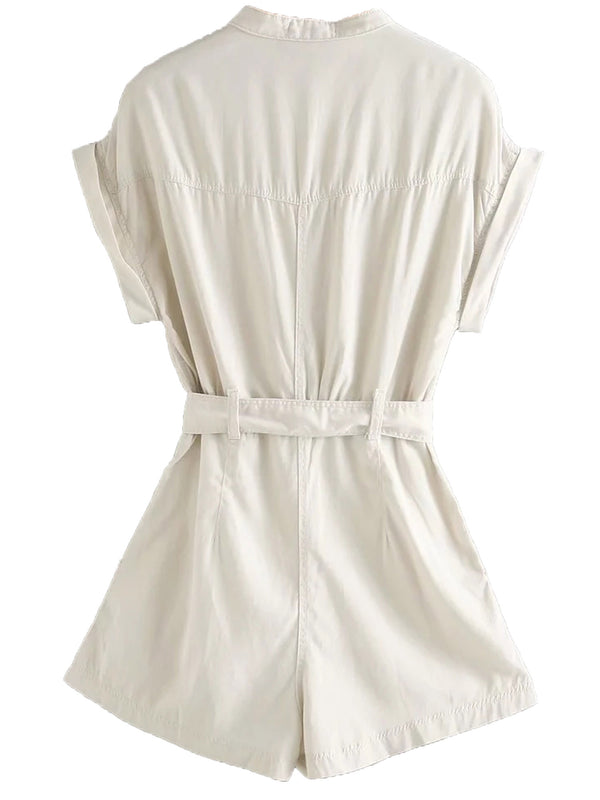 'Mia' White Denim Romper with Belt