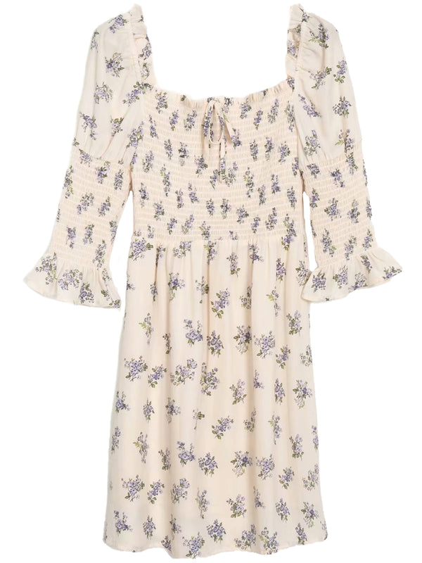 'Gretchen' Ruched Blue Floral Mini Dress