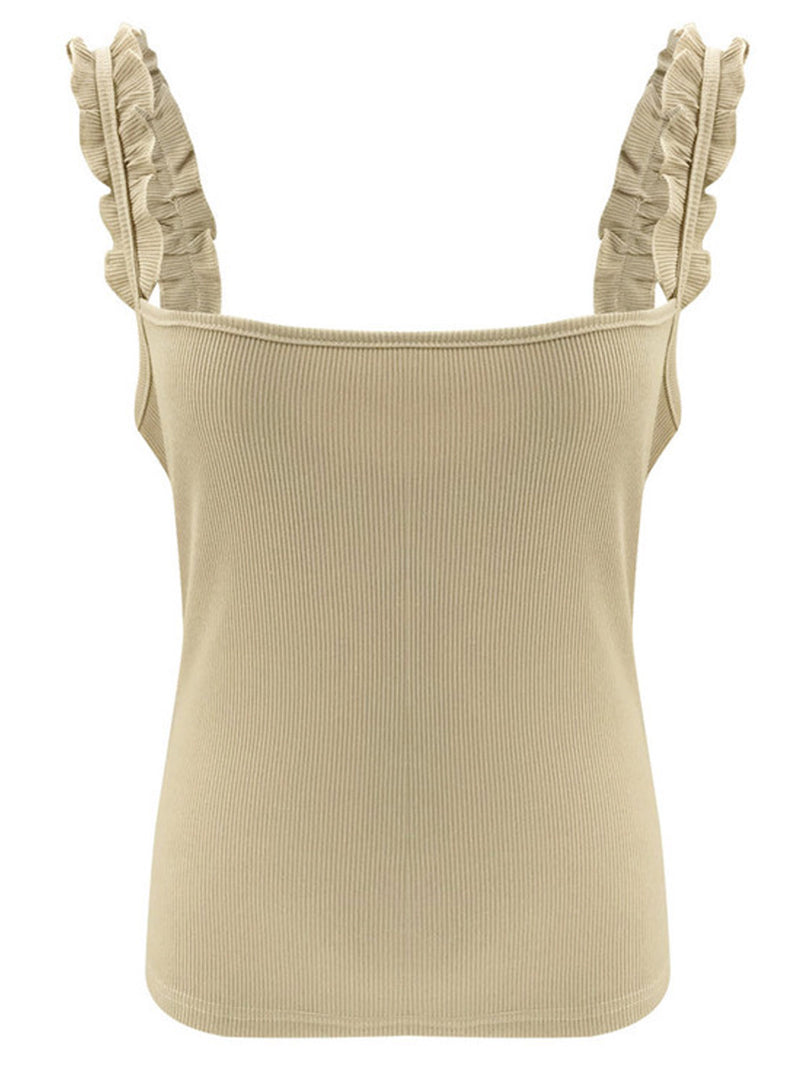 'Kayla' Ruffle Strap Ribbed Tank Top (3 Colors)