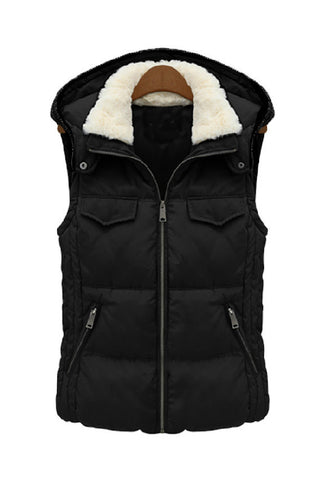 Fur Collar with Hood Puffer Vest - Goodnight Macaroon