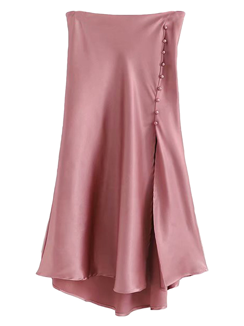 'Madison' Button Slit Satin Skirt
