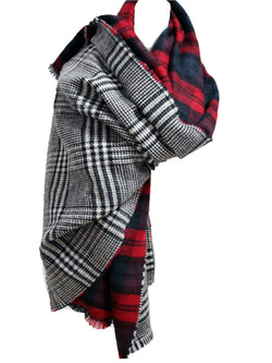'Valentina' Two-sided Plaid & Houndstooth Scarf (2 Colors)