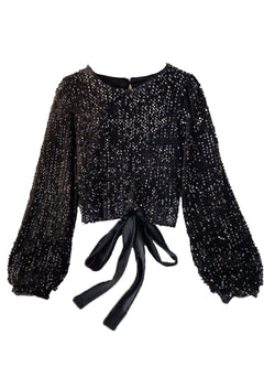 'Mary' Open Back Round Neck Sequin Top (2 Colors)