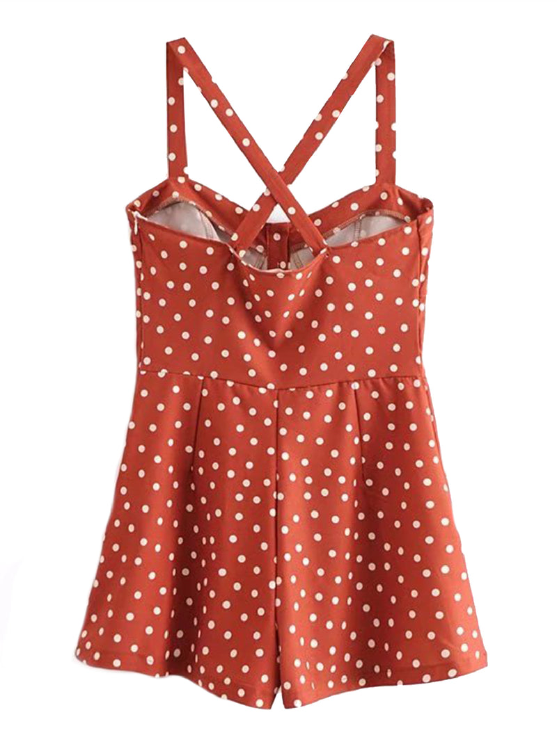 'Shantel' Crossed Back Brick Red Polka Dot Print Overall Romper Back Goodnight Macaroon