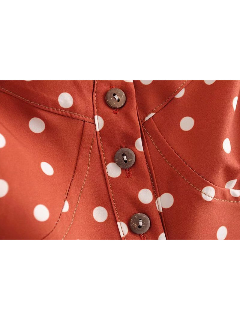 'Shantel' Crossed Back Brick Red Polka Dot Print Overall Romper Buttons Goodnight Macaroon
