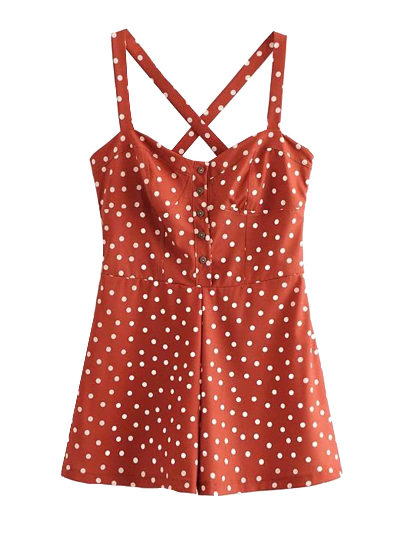 'Shantel' Crossed Back Brick Red Polka Dot Print Overall Romper Front Goodnight Macaroon