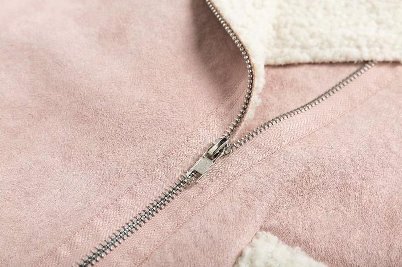 Goodnight Macaroon 'Lagina' Faux Suede Shearling Coat Pink Zipper