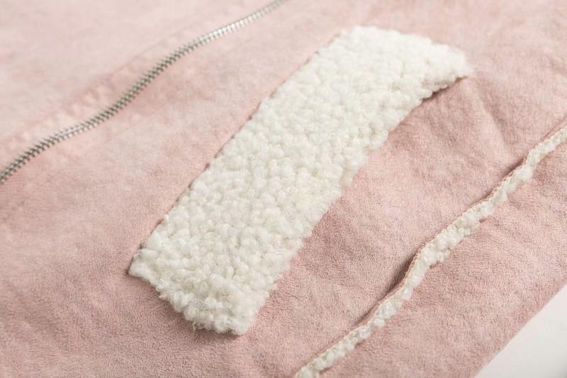 Goodnight Macaroon 'Lagina' Faux Suede Shearling Coat Pink Pocket