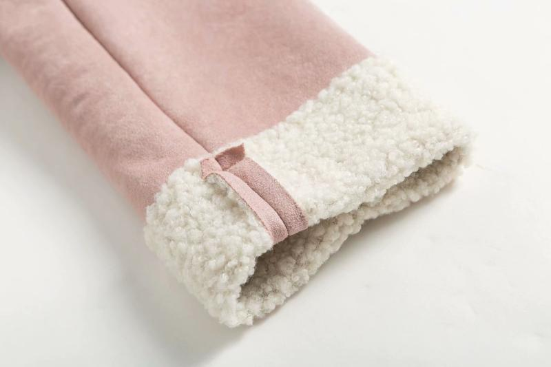 Goodnight Macaroon 'Lagina' Faux Suede Shearling Coat Pink Sleeve