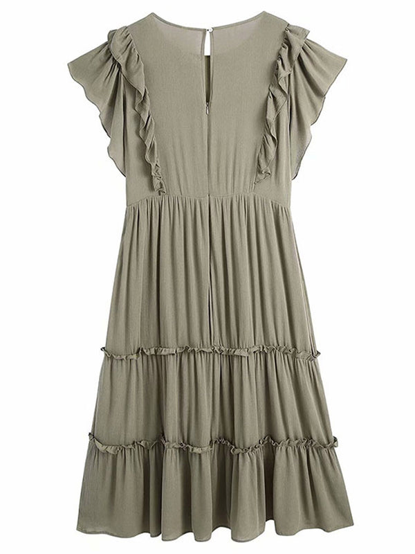 'Melissa' Ruffles Embroidered Olive Midi Dress