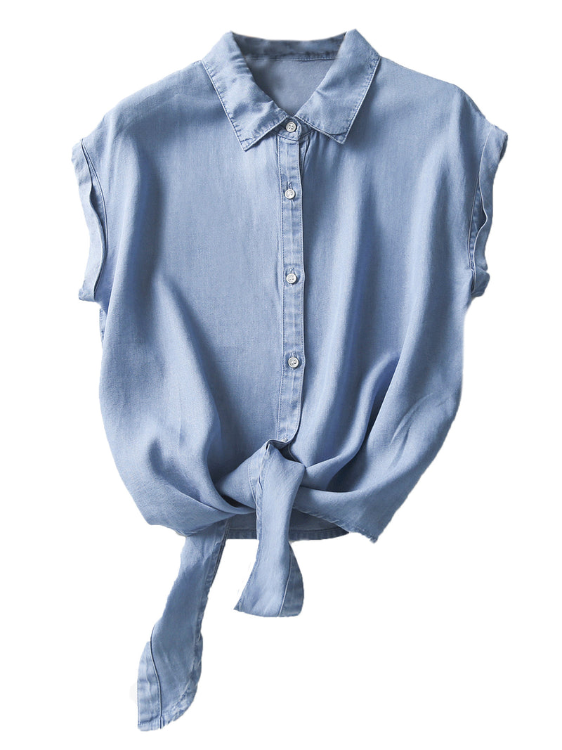 'Kamille' Button Down Chambray Tie Bottom Sleeveless Top (2 Colors)