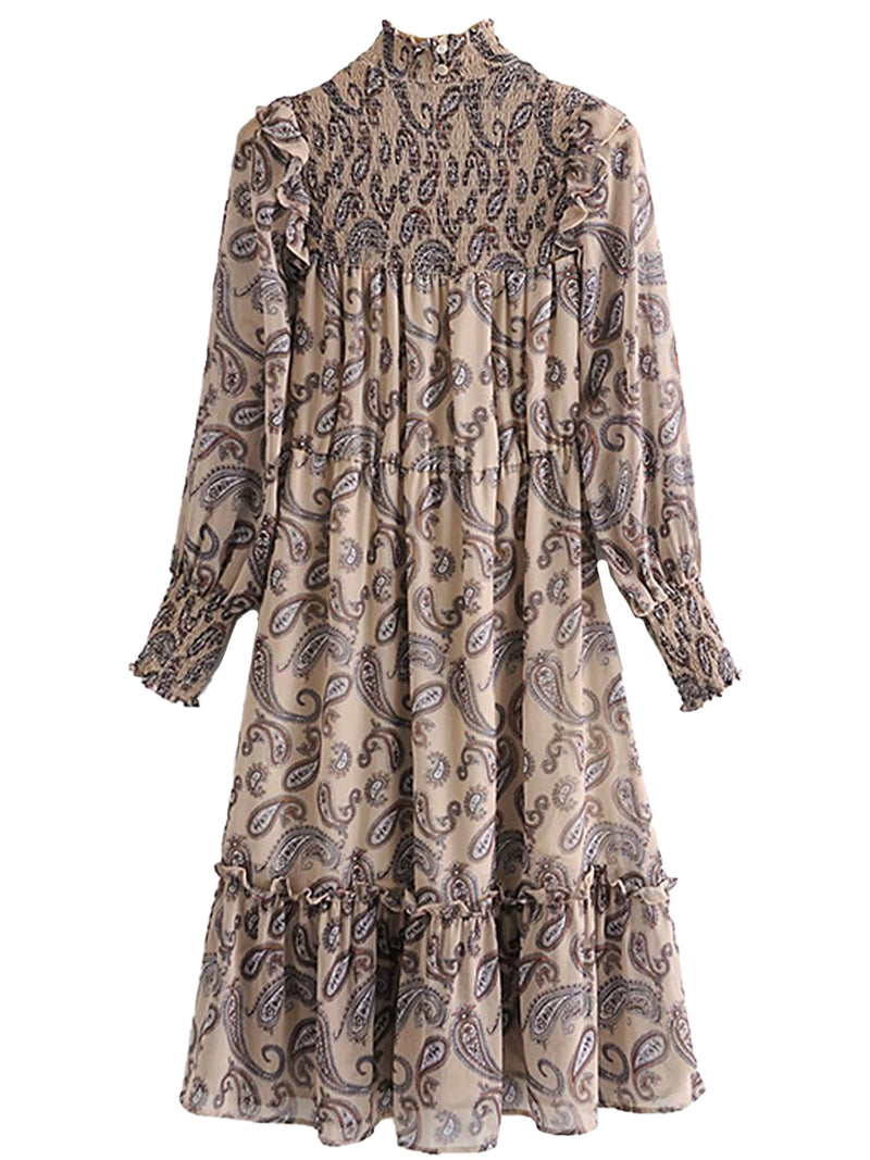 'Silvia' Paisley Print Brown Ruched Maxi Dress