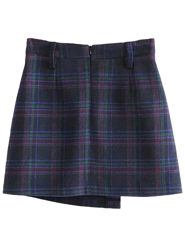 'Bailey' Plaid Foldover Mini Skirt