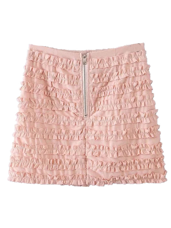 'Rachel' Pink Ruffle Zip Back Mini Skirt