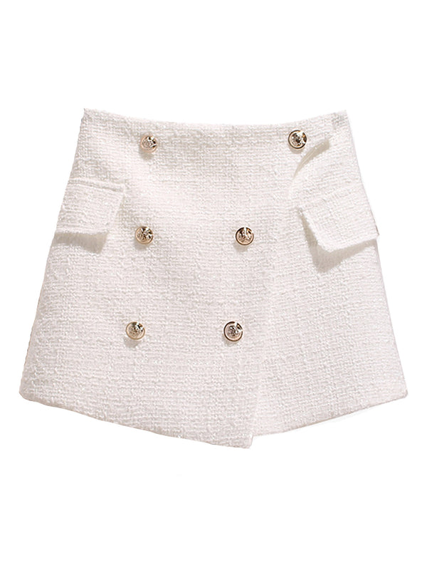 'Mia' Button Tweed Mini Skort (3 Colors)
