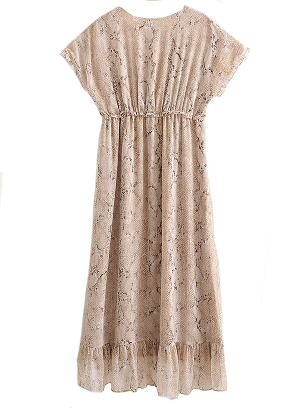 'Suki' V-Neck Gold Line Snake Print Midi Dress