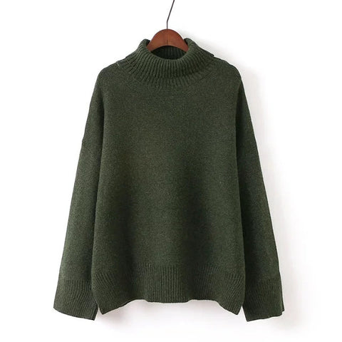 'Lynn' Soft Turtleneck Draped Oversized Sweater