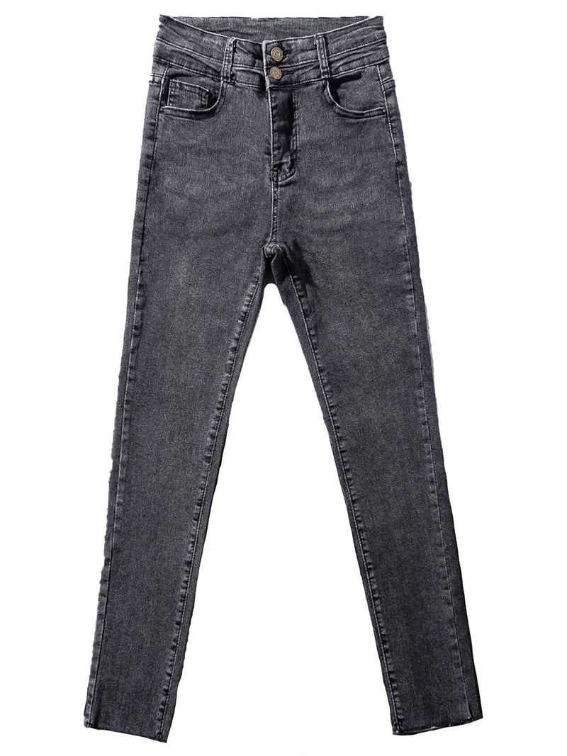 'Michelle' Double Button High Waisted Cropped Skinny Jeans (2 Colors)
