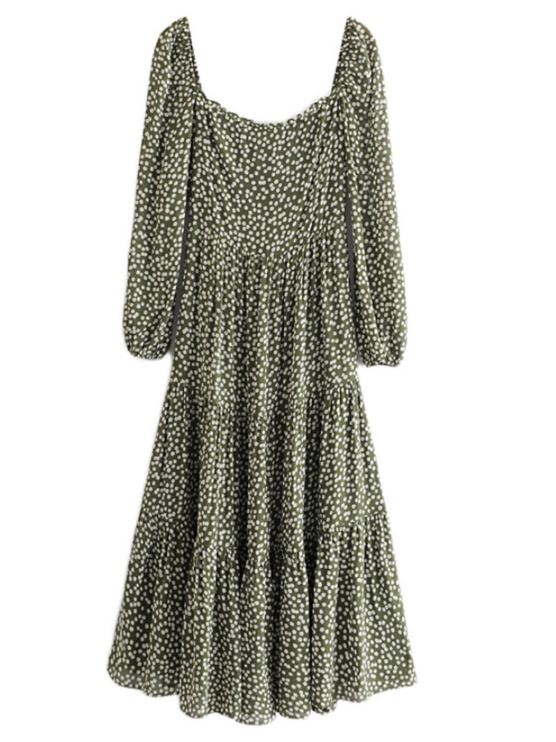 'Olivia' Spotted Print Square Neck Tiered Green Maxi Dress
