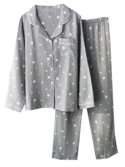 'Hayley' Star Gauze Cotton Button Down Long Sleeves PJ Set (2 Colors)
