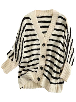 'Ivy' V-Neck Striped Button Down Cardigan (3 Colors)