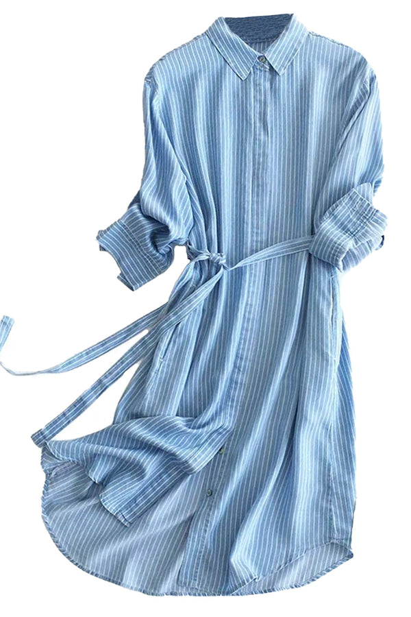 'Londyn' Chambray Shirt Dress with Belt (2 Colors)