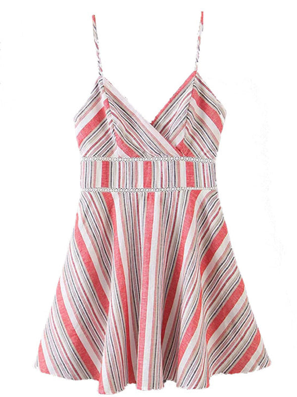 'Joy' Colorful Stripes Strap Mini Flare Dress
