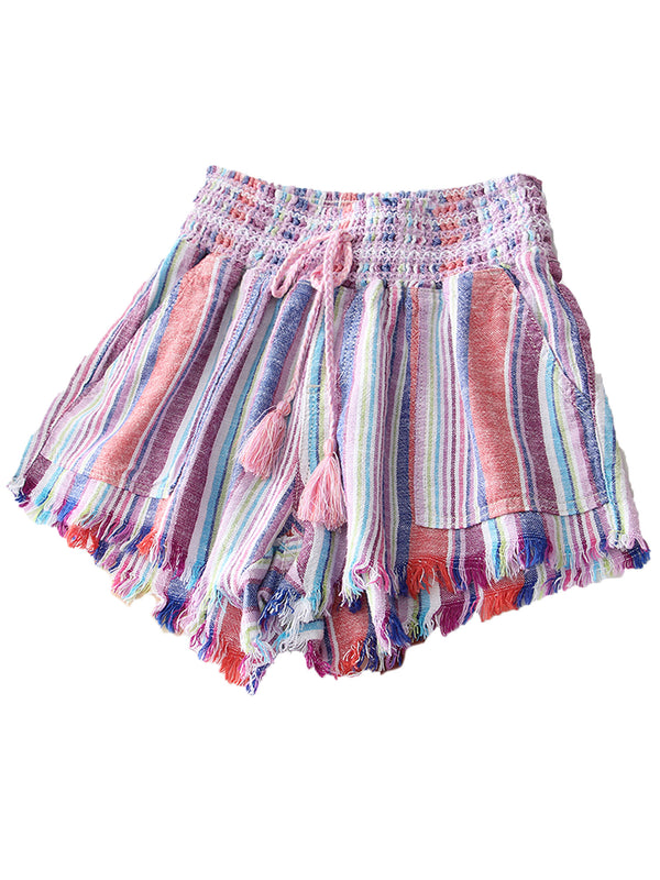 'Katy' Fringe Hem Braided Waist Tie Shorts