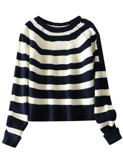 'Hannah' Blue & White Striped Shoulder Button Sweater