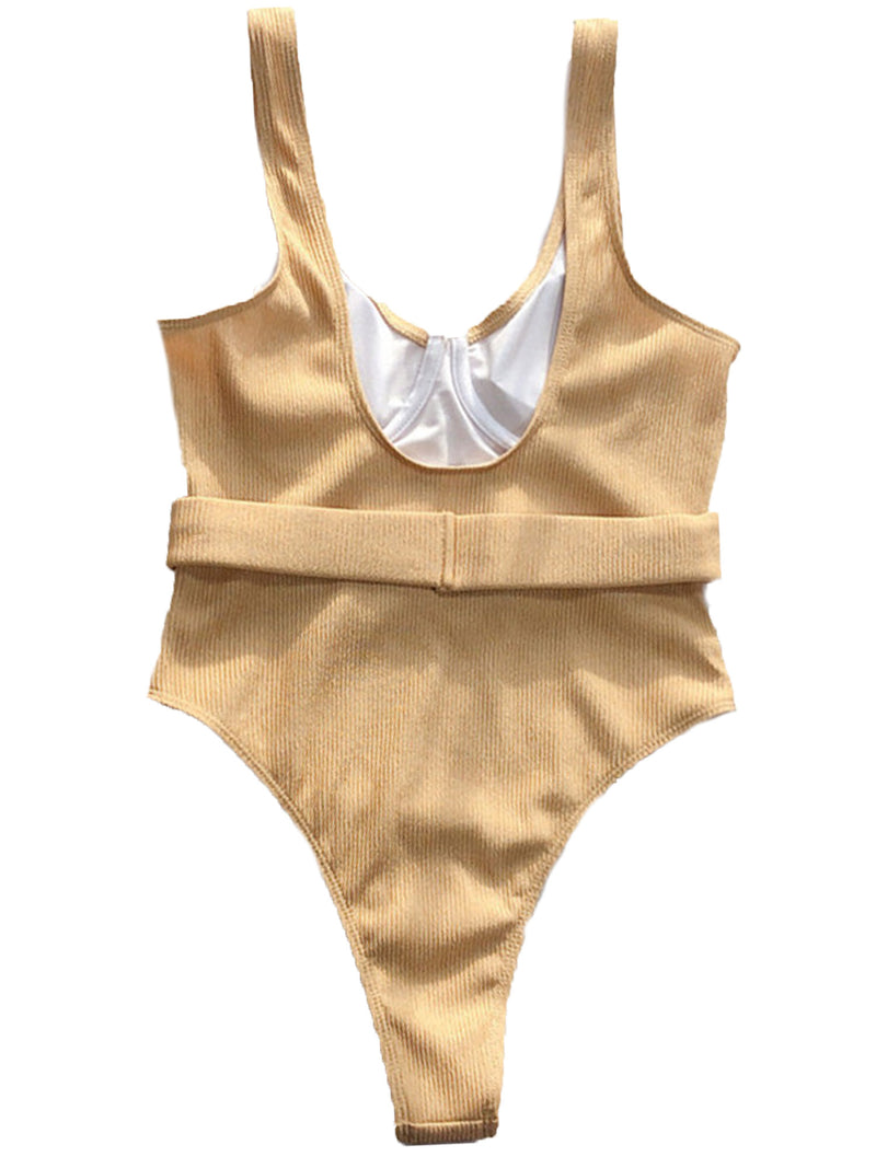 'Francesca' Belted Ribbed Swimsuit (2 Colors)