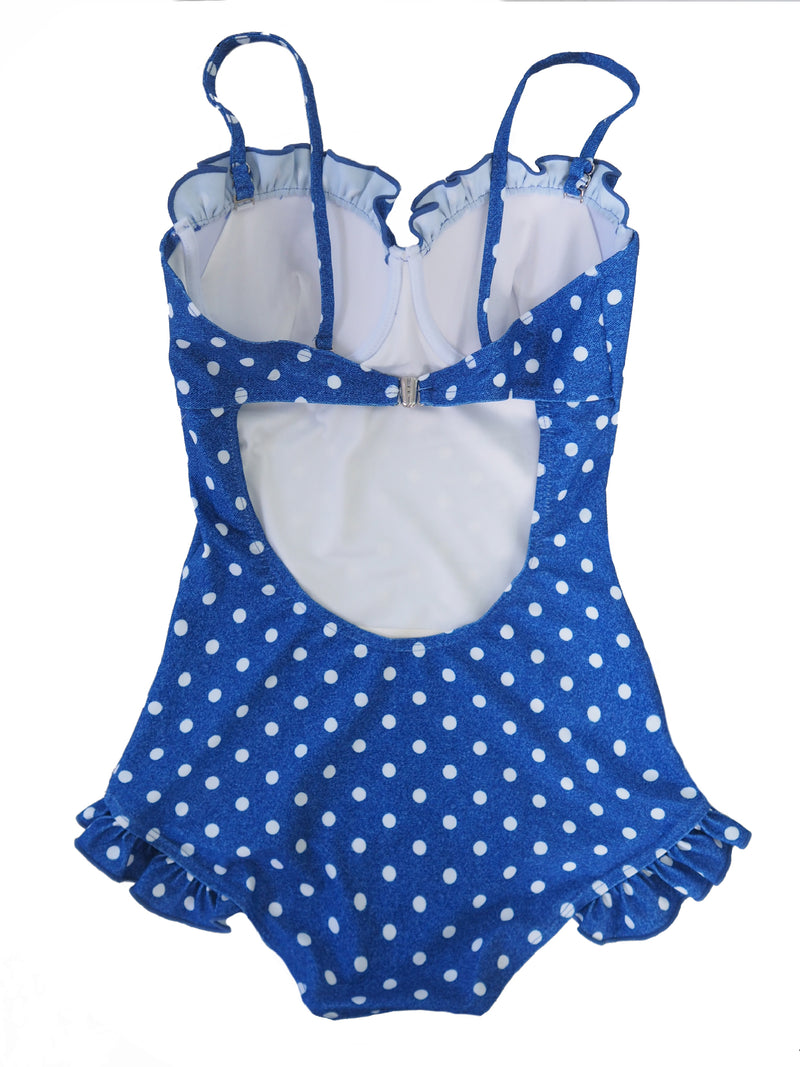 Goodnight Macaroon 'Jacquelin' Polka Dot One Piece Swimsuit Back