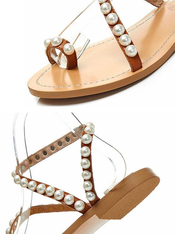 'Luna' Pearl Studded Tan Leather Sandals