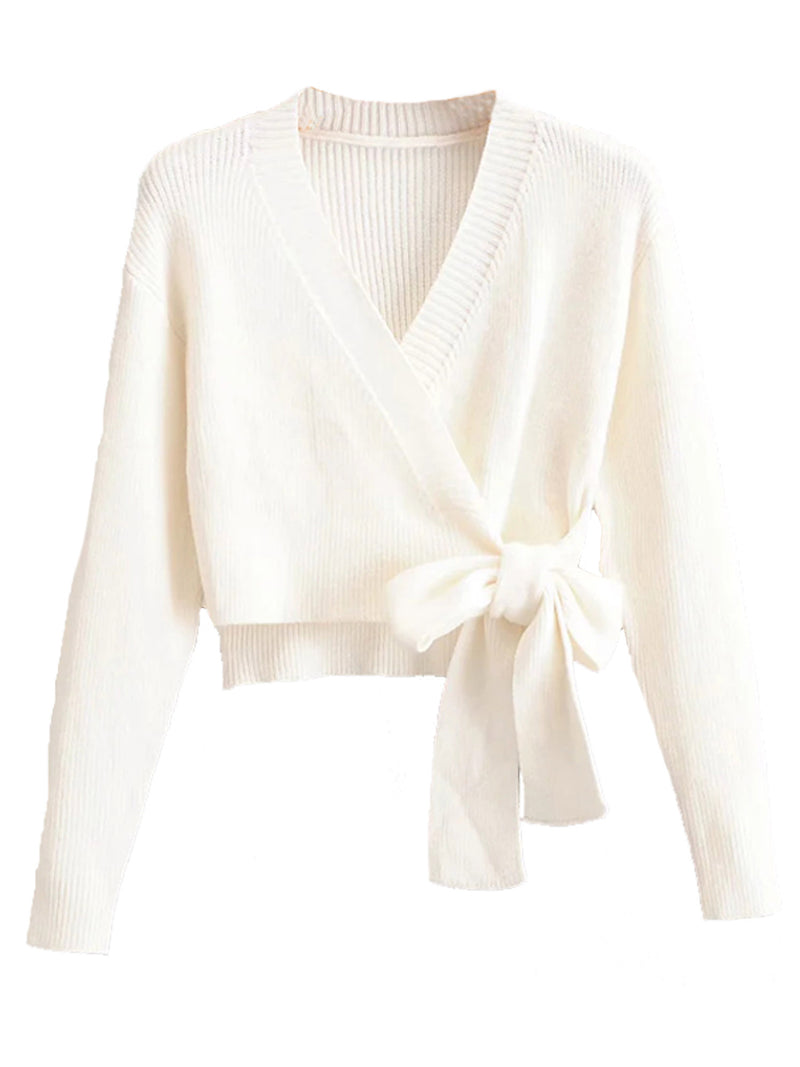 'Katy' Cream Knitted Bow Wrap Sweater