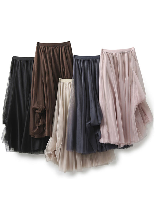 'Florence' Elastic Tulle Maxi Skirt (5 Colors)